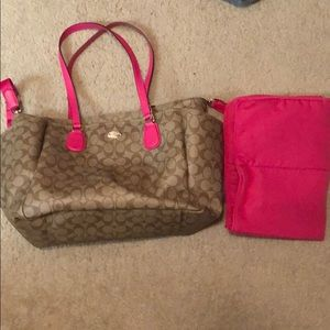 Like new Coach diaper bag with changing pad